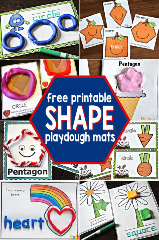 If your child is working on learning their shapes, you will love all these fun, shape printables. WE have free shape printables for toddler, preschool, pre-k, kindergarten, and first grade students. From shape worksheets to shape games plus shape puzzles and shape playdough mats. Kids are sure to have fun learning shapes with these fun shape activities for kids!