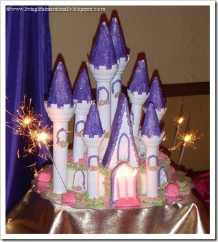 Disney Princess Birthday Cake with food safe sparklers