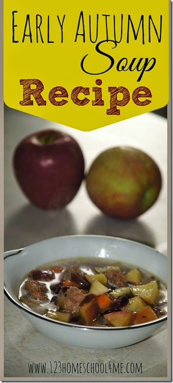 Early Autumn Soup Recipe - This recipe is AMAZING! The combination of sausage and apples is amazing. Great fall recipe the whole family will love. Yummy!