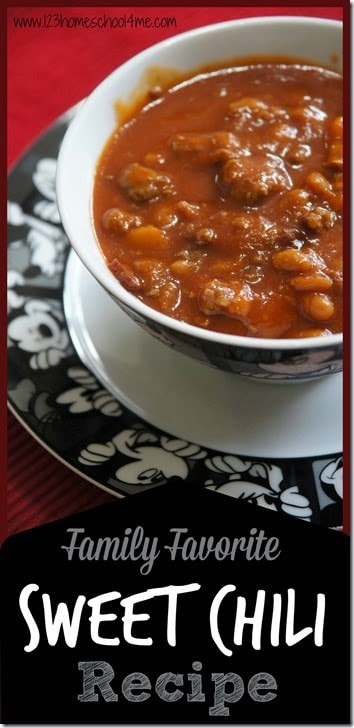 Chili can be hit or miss with many kids. But this Sweet Chili Recipe is always a favorite with everyone who tries it! The slightly sweet sauce combined with the baked beans and ground beef are a welcome comfort food all year long! Plus this chili recipe is super easy to throw together! This recipe is sure to be a favorite with your whole family.