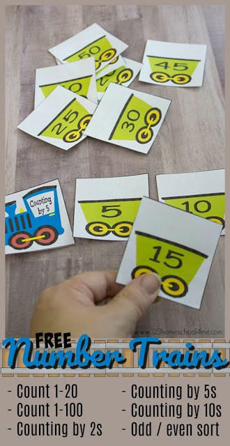 FREE Number Trains: Count to 100 - This printable math activity is such a fun counting activities for preschool, prek,, kindergarten, and first grade to practice not only Counting 1 to 100, but skip counting by 2s, skip counting by 5s, and skip counting by 10s.  #counting #math #kindergarten