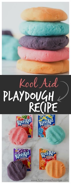 Have you tried making your own play dough? Homemade playdough is super easy to make with ingredients you have in your kitchen, plus it is fun to make and free from preservatives too. But what we like best is making some truly unique playdough recipes for kids you cannot buy at the store. This kool aid playdough smells amazing - which is a huge improvement from the store bought versions. Your toddler, preschool, pre k, kindergarten, first grade, and 2nd grade child will love playing with this cook aid playdough recipe!