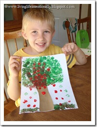 Hand Print Tree with Finger Apples
