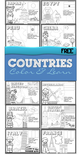 FREE Countries Color and Learn Worksheets