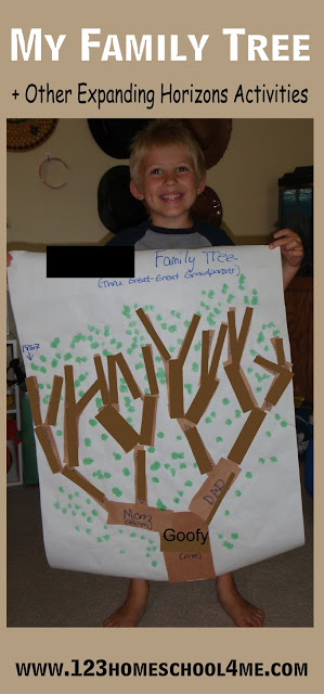 My Family Tree - fun ideas for kids learning about themselves, their families, community in an Expanding Horizons social studies unit in Preschool, Prek, Kindergarten, or First Grade