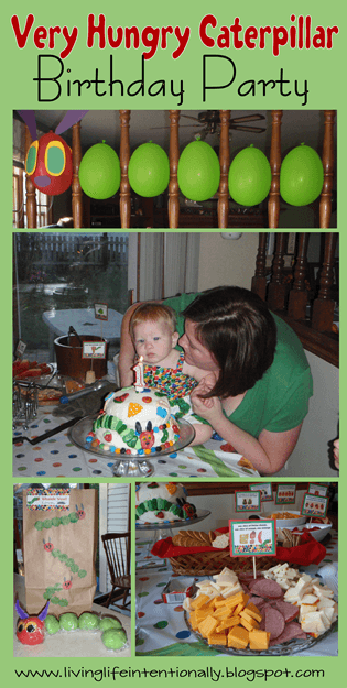 Super cute hungry caterpillar party for kids of all ages with themed food, games, DIY decorations and more. Fun birthday party theme #birthdays #birthdayparty #hungrycaterpillar
