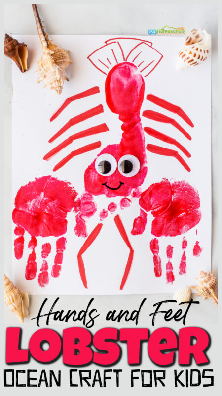 Dive under the sea for a cuteocean craft that is sure to delight young kids. This cute lobster craft uses your child's hand and foot for a precious keepsake of those all-too-fleeting preschool years. Thishandprint crafts also incorporatesfootprint art to make a memorableocean animals craft that will make littles giggle with delight. Use this under the sea crafts for preschool, toddler, pre-k, kindergarten, and first grade students.