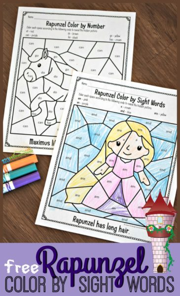 Princess color by Kindergarten sight Words