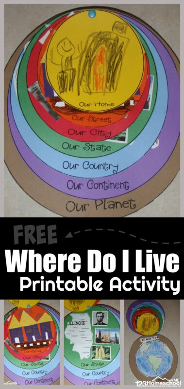 FREE Printable Where Do I Live Activity - fun, hands-on project to help preschool, prek, kindergarten, and first graders where they live home, street, city, state, country, continent, planet. Perfect for Social Studies: Expanding Horizons unit #preschool #kindergarten #wheredoilive