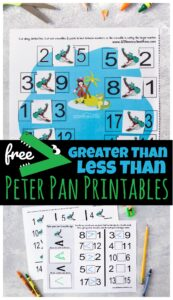 FREE Greater Than Less than Peter Pan Printables - super cute pack with 4 different ways for kindergarten and first grade students to practice math while having fun and mastering a new concept and skill.