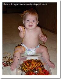 baby and pasta sensory activity