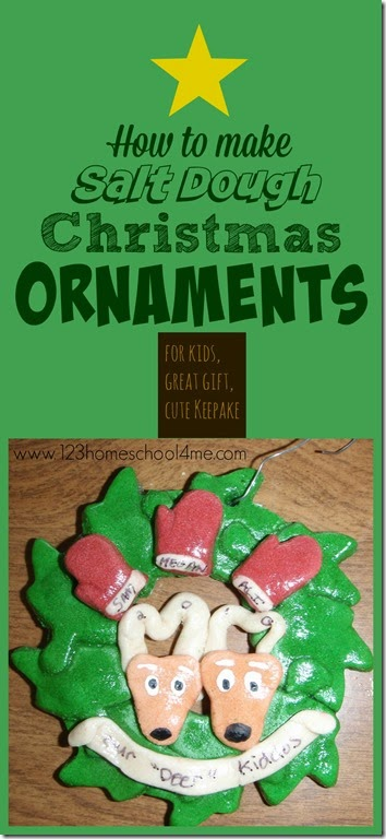 How to make Salt Dough Christmas Ornaments - a classic christmas craft for kids, a great personalized gift, and a wonderful keepsake for mom to make and save big money! #christmas #christmasornaments #saltdough