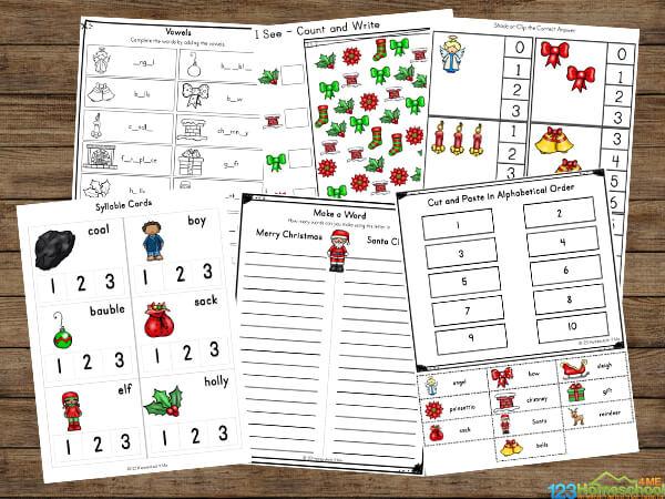 Christmas Worksheets for Kindergartners