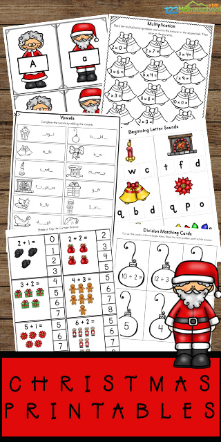 FREE Christmas Worksheets for toddler, preschool, prek, kindergarten, and first grade kids to practice math, literacy, alphabet, and more during december. #christmasworksheets #prek #kindergarten