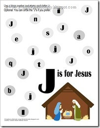 FREE Christmas Preschool Printable - J for Jesus Letter Recognition