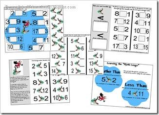Kindergarten Worksheets - Crocodile Greater Than Less Than