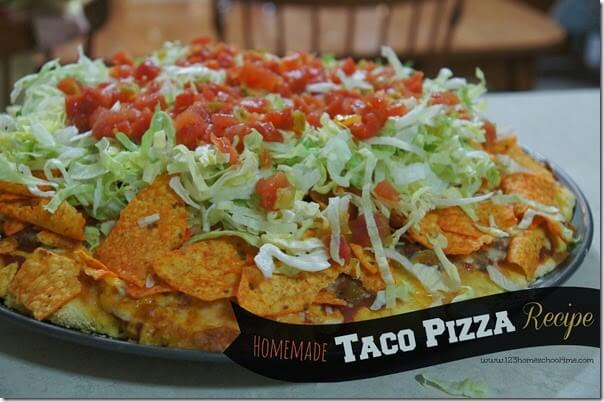 taco pizza from scratch -a kid friendly, family favorite dinner recipe