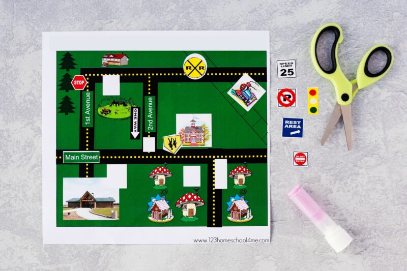 cut and paste Community Signs Worksheets to show where signs go on the map and in your community