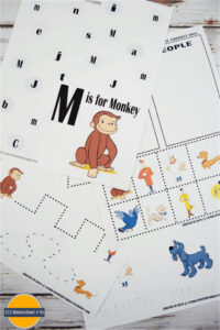 FREE Curious George Printables - these free printable worksheets are a great way for toddler, preschool, prek, and kindergarten ate kids will have fun practicing pre writing, alphabet letters, cutting, sorting, counting, and so much more with these preschool worksheets #curiousgeorge #preschool #worksheets