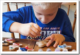 painting our gingerbread pirates