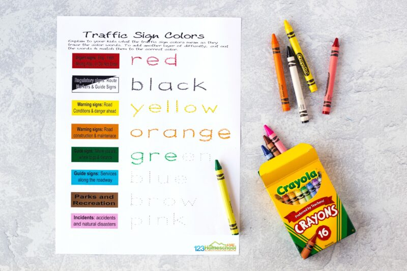 learn about the meaning behind the colors of signs in this Free Community Safety Signs Worksheets