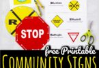 These Free Printable Community Signs Worksheets are a fun, hands on way for students to familiarize themselves with safety signs and their meanings.  This practical, educational activity helps toddler, preschool, pre k, kindergarten, and first graders know what signs mean so they stay safe in their community.