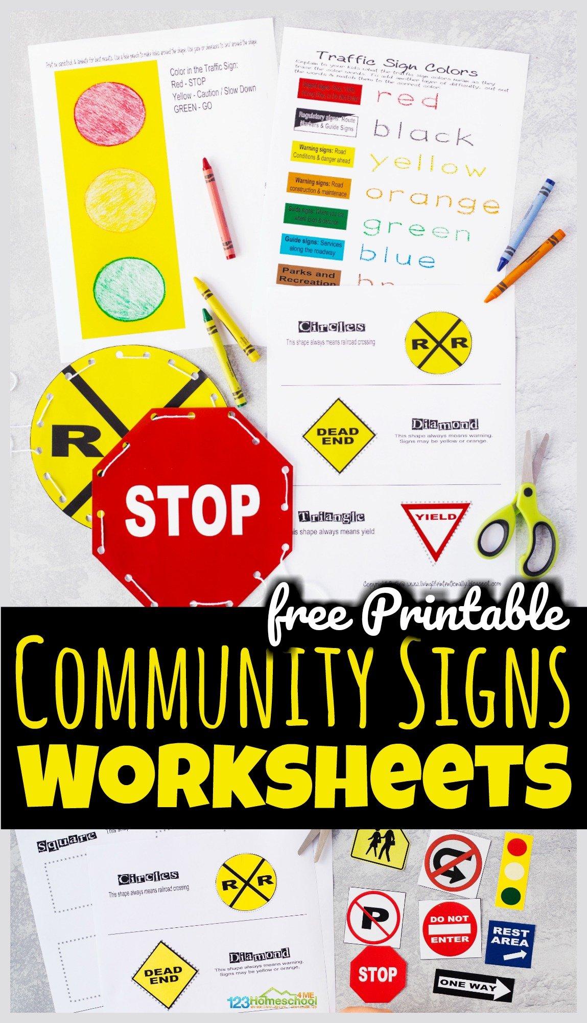 Free Printable Community Signs Worksheets
