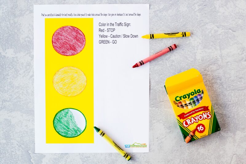 use the Free Printable Road Signs for Preschool to color in the traffic signal red, yellow, and green