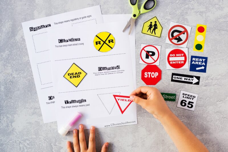 free printable Safety Signs Worksheets for preschool, pre k, kindergarten, and first graders