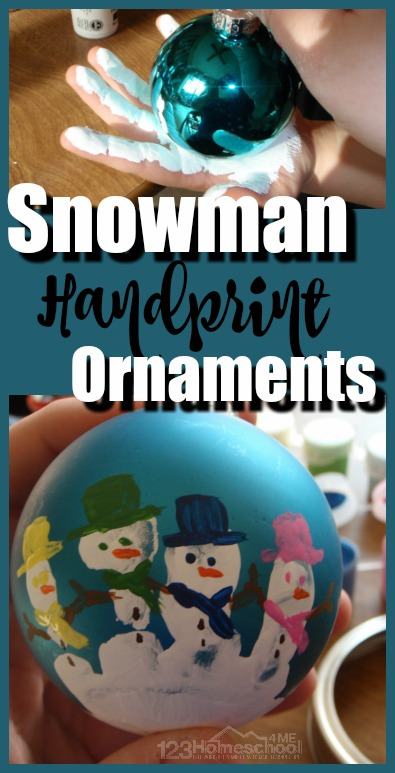 Snowman Handprint Ornament - super cute diy Christmas Ornament that will make a treasured keepsake #snowman #christmas #diyornaments