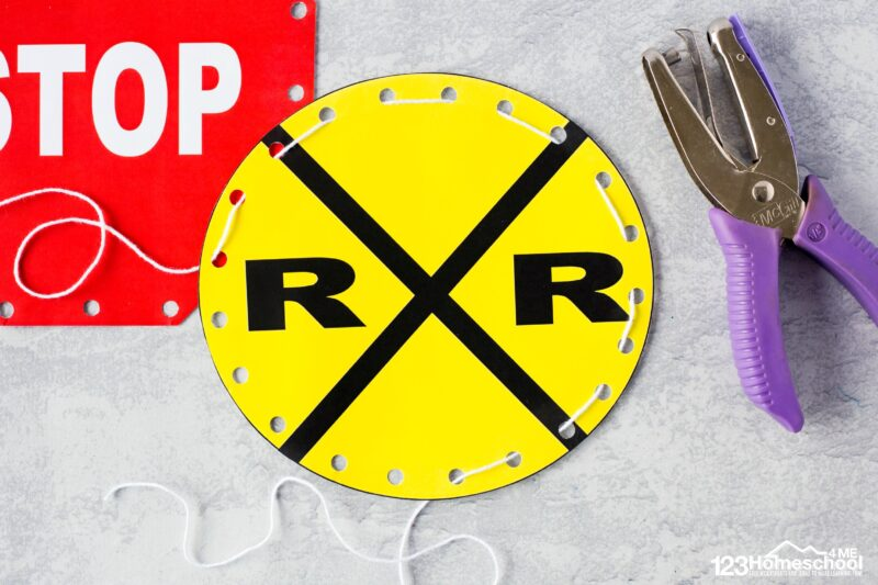 rail road crossing, stop sign, and traffic sign free printable lacing cards