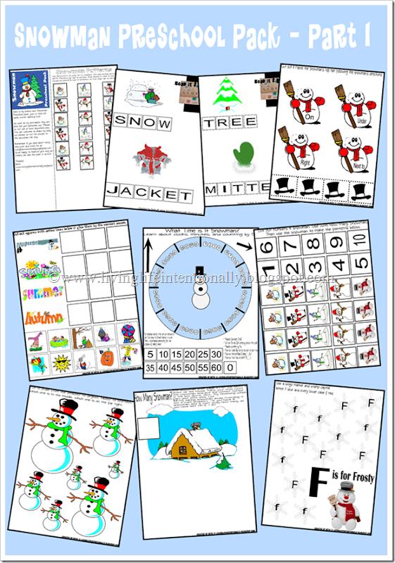 Kindergarten Worksheets - Snowman theme