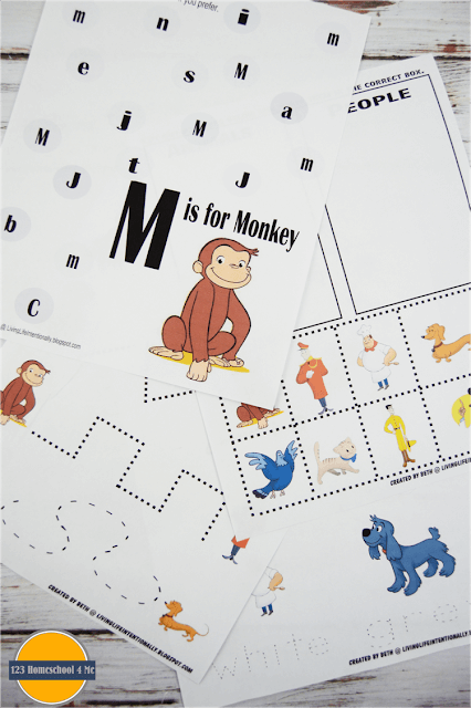 FREE Curious George Worksheets - toddler, preschool, prek, and kindergarten ate kids will have fun practicing pre writing, alphabet letters, cutting, sorting, counting, and so much more with these preschool worksheets