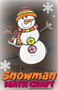 FREE Snowman Math Craft addition subtraction
