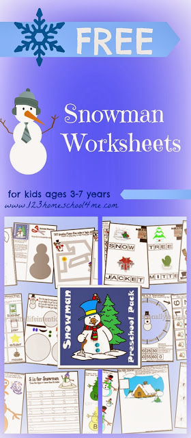 Free printable Snowman worksheets for kids - lots of fun, winter worksheets for toddlers, for preschool, for kindergarten, and 1st grade reviewing telling time, shapes, color words, cut and paste, alphabet letters, counting, and so much more!