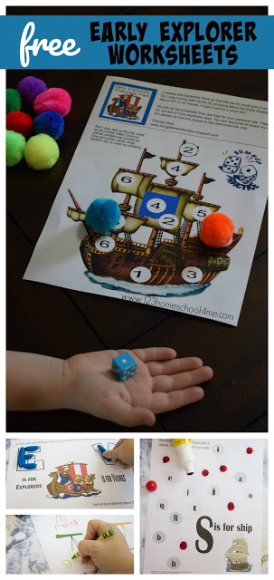 Teach your child about early explorers like the Vikings and Christopher Columbus with these super cute, free printable, Early Explorers Worksheets. These themed worksheets are perfect for preschool, pre k, kindergarten, and first grade students.