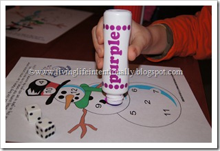 Rolling dice, counting dots, and stamping numbers