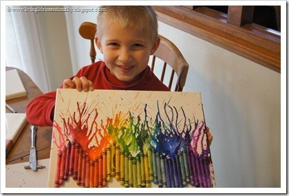 Melted Crayon art - fun project for kids of all ages