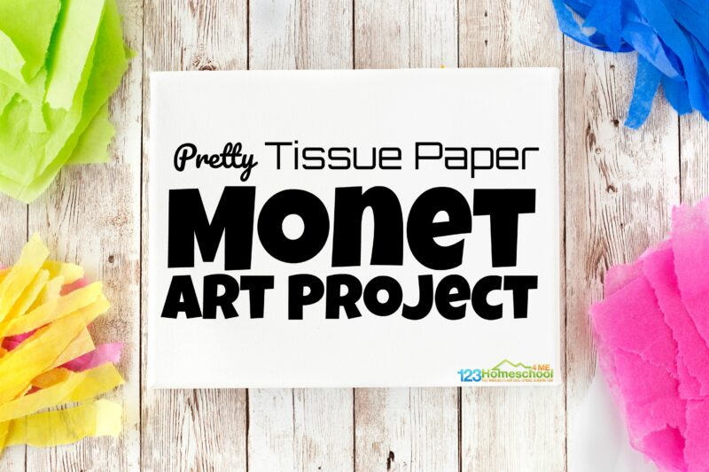 Teaching kids about famous artist Monet with this funMonet art projects. This easy-to-make tissue paper craft makes a beautifulMonet Art Project for Kids that will brighten up any room while helping to explore afamous artists for kids while having fun creating beautiful art, slowing down to appreciate the pretty things around us, and learning to express themselves too. Thisart projects for kids is perfect for toddler, preschool, pre-k, kindergarten, first grade, 2nd grade, 3rd grade, 4th grade, 5th grade, and 6th grade students.