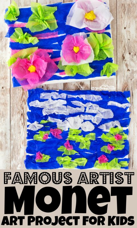 Teaching kids about famous artist Monet with this fun Monet art projects. This  easy-to-make tissue paper craft makes a beautiful Monet Art Project for Kids that will brighten up any room while helping to explore a famous artists for kids while having fun creating beautiful art, slowing down to appreciate the pretty things around us, and learning to express themselves too. This art projects for kids is perfect for toddler, preschool, pre-k, kindergarten, first grade, 2nd grade, 3rd grade, 4th grade, 5th grade, and 6th grade students.