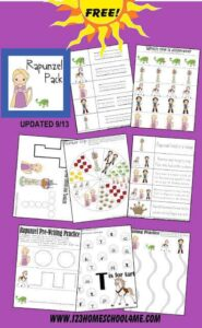 Free Rapunzel Worksheets - these Disney worksheets for kids are a great way to practice math and literacy while having fun learning with a Tangled theme. These preschool worksheets free printables are a great tool for toddler, preschoolers, and kindergartners #disneyworksheets #rapunzel #preschoolworksheets