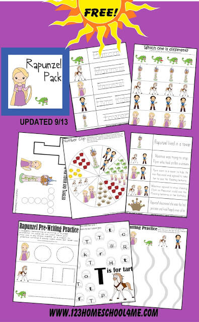 Tangled Rapunzel Preschool Worksheets