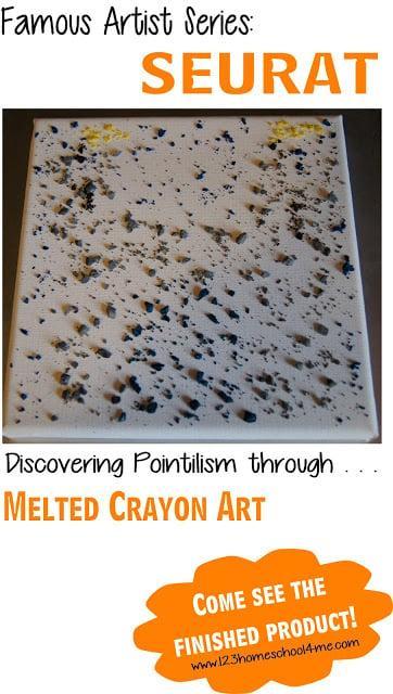 Discovering Famous Artist Seurat for Kids - Creating Pointillism art through Melted Crayon Art