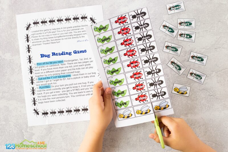Free bug printables with dolche sight words for kids to practice pre primer, primer, grade 1 and grade 2 sight words