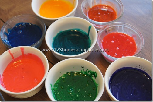 Beautiful, colorful edible finger paint for kids