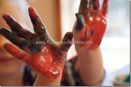 preschool edible finger paint color mixing