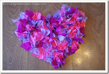 Tissue Paper Textured Valentine's Heart Craft