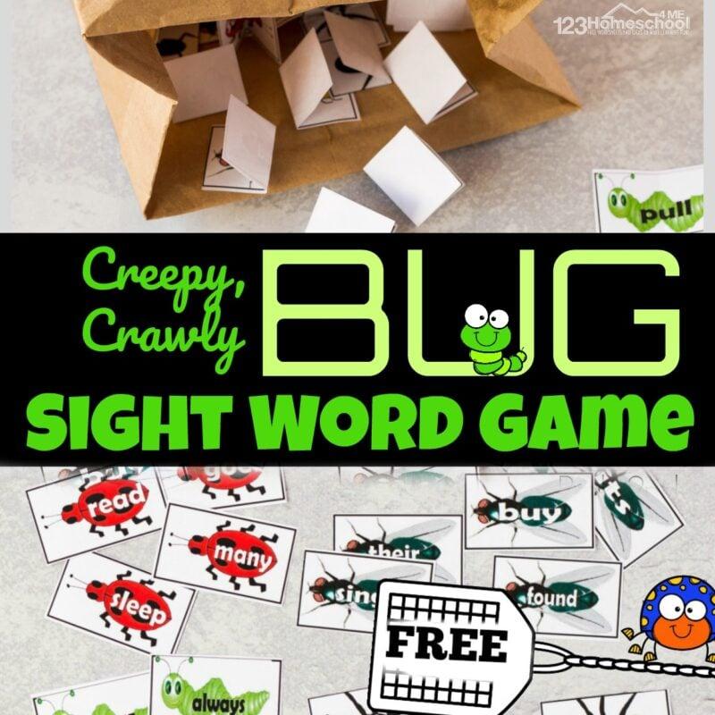 free printable bug sight word game