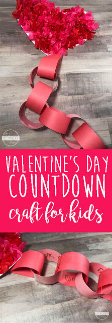 Valentines Day Craft & Countdown - this is such a fun, simple to make craft for kids in February that incorporates a cute countdown that can include activities, things you love about that child, spelling words, math problems, countries to look up, Bible verses on love, or anything else that inspires you.