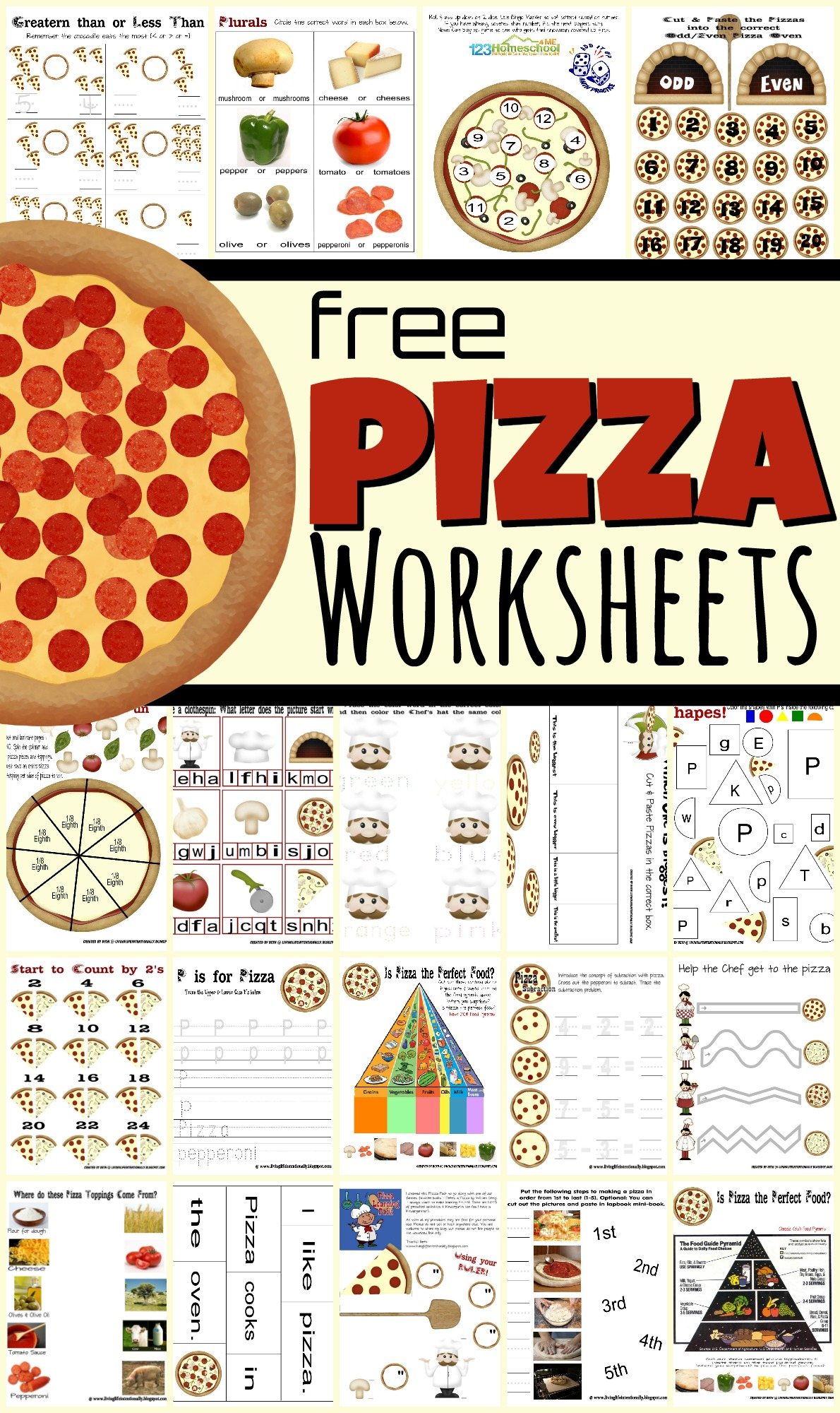 What kid doesn't like Pizza? Make learning fun with these pizza worksheets to help children from toddler, preschool, pre-k, kindergarten, and first grade students. These free printable pizza worksheets are filled with super cute pizza themed printables to practice tracing letters, counting, addition, measuring, colors, sequencing, ordinal words, odd / even, pizza clock, beginning sounds, healthy eating, skip counting, and so much more! Simply download pdf file with pizza worksheets for preschoolers and you are ready for educational activities to learn with a pizza party.